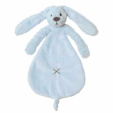Baby blauw tutteldoekje konijn knuffel