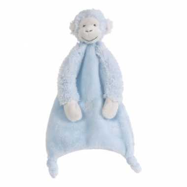 Baby blauwe mickey tuttel aapje knuffel