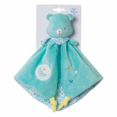 Baby blauwe troetelbeer knuffeldoek