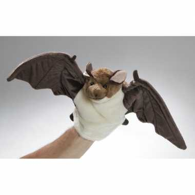 Baby bruin/witte pluche vleermuis handpop knuffel