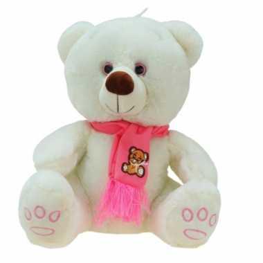 Baby creme teddyberen knuffel wolly sjaal