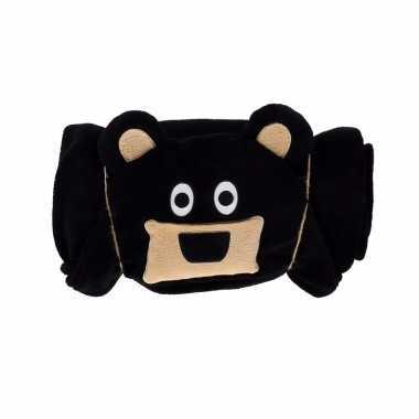 Baby dierenthema fleece omslagdoek beer knuffel