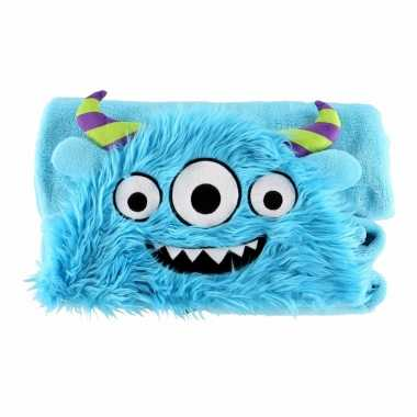Baby dierenthema fleece omslagdoek monster knuffel