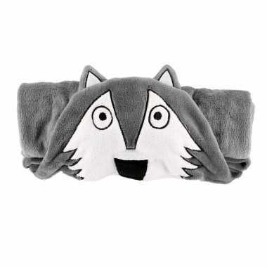 Baby dierenthema fleece omslagdoek wolf knuffel