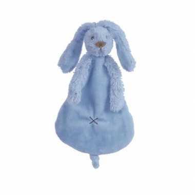 Baby donkerblauw tutteldoekje konijn knuffel