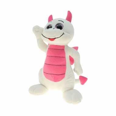 Baby draken knuffel wit roze
