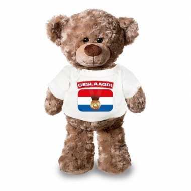 Baby eindexamen cadeau geslaagd! knuffel beer wit shirt