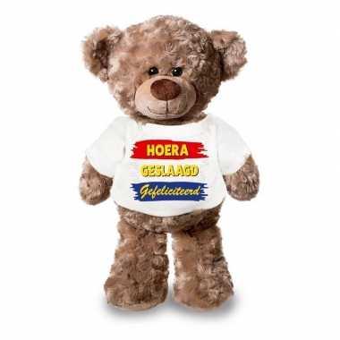 Baby eindexamen cadeau hoera geslaagd gefeliciteerd knuffel beer wit