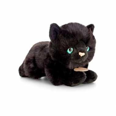 Baby halloween decoratie knuffel kat/poes zwart liggend