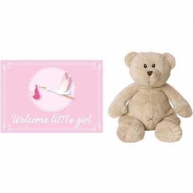 Baby happy horse bruine beren knuffels geboortekaartje welcome little girl ooievaar roze