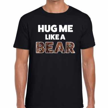 Baby hug me like a bear tekst t shirt zwart heren knuffel