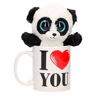 Baby i love you cadeau beker pandabeer knuffel