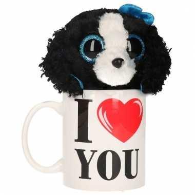 Baby i love you cadeau mok honden knuffel