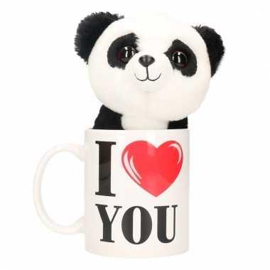 Baby i love you cadeau mok pandabeer knuffel