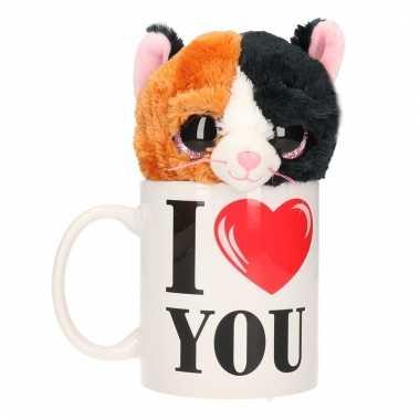 Baby i love you cadeau mok poezen/katten knuffel