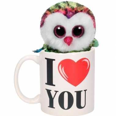 Baby i love you cadeau mok uilen knuffel gekleurd