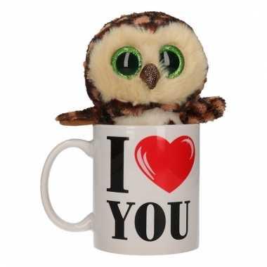 Baby i love you cadeau mok uilen knuffel