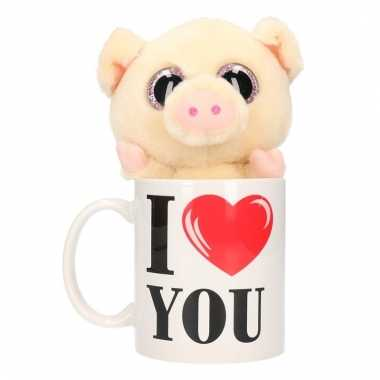 Baby i love you cadeau mok varkens/biggen knuffel