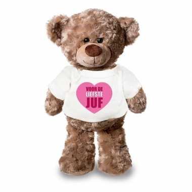 Baby juf cadeau liefste juf hartje knuffel beer wit shirt
