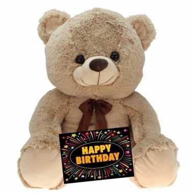 Baby kado knuffel beer beige + gratis verjaardagskaart
