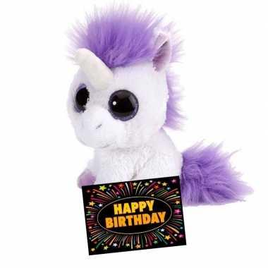 Baby kado knuffel eenhoorn + gratis verjaardagskaart