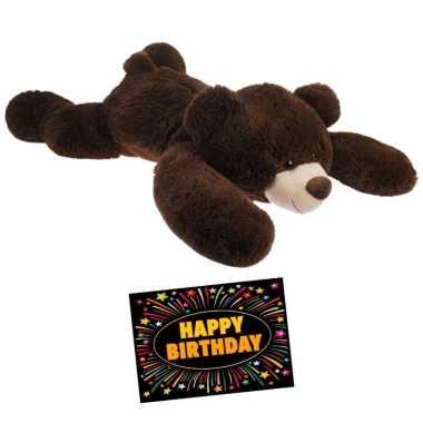 Baby kado knuffelbeer donkerbruin + gratis verjaardagskaart