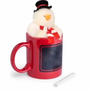 Baby kerstkado rode mok sneeuwpop knuffel