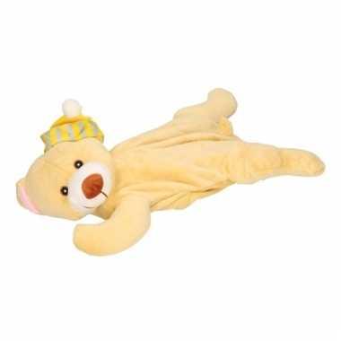 Baby kinderkruik beige beer gele slaapmuts knuffel