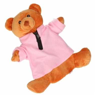 Baby kinderkruik bruine beer roze trui knuffel