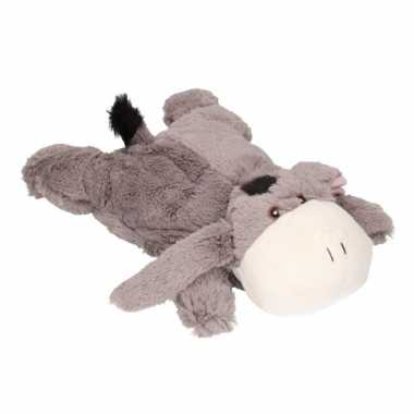 Baby kinderkruik grijze ezel knuffel