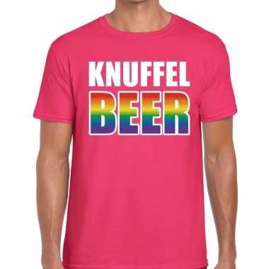 Baby knuffel beer gay pride t shirt roze heren