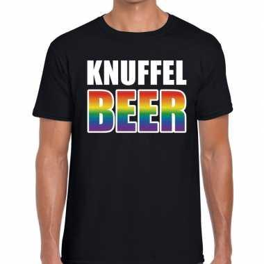 Baby knuffel beer gaypride shirt zwart heren