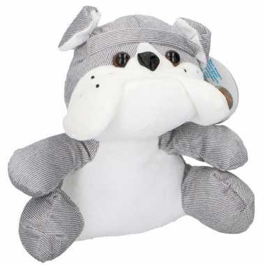 Baby knuffel bulldog deurstoppers/deurwiggen grijs