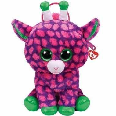 Baby knuffel kinder rugzakje/rugtasje ty beanie giraffe gilbert paars
