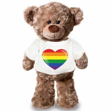 Baby knuffel teddybeer gaypride vlag hart t shirt