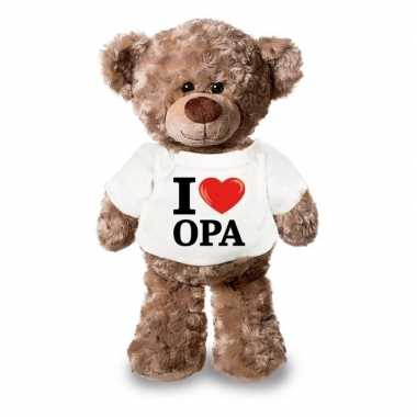 Baby knuffel teddybeer i love opa shirt