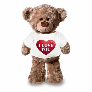 Baby knuffel teddybeer i love you hart shirt