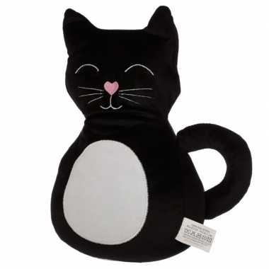 Baby knuffel zwart katje/poesje deurstoppers/deurwiggen