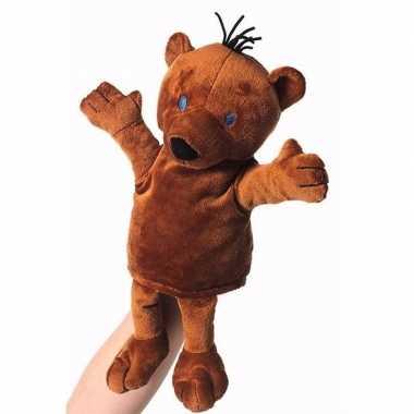 Baby knuffelbeer handpop bruin