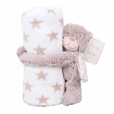 Baby kraamcadeau sterrenprint fleecedeken teddybeer knuffel