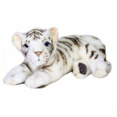 Baby  Liggende pluche witte tijger knuffel