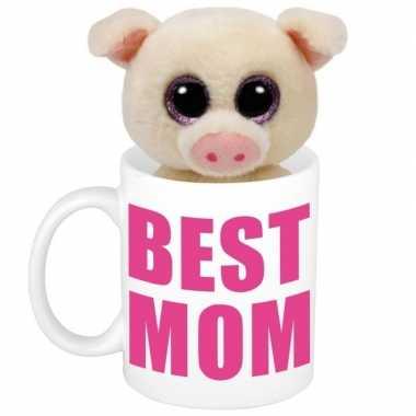 Baby moederdag best mom mok knuffel biggetje / varkentje