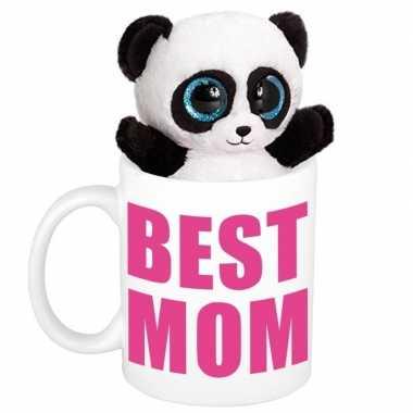 Baby moederdag best mom mok knuffel panda