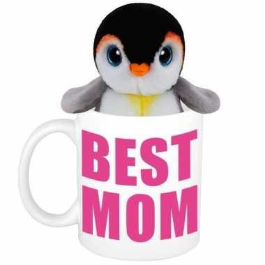 Baby moederdag best mom mok knuffel pinguin