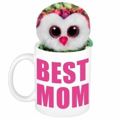 Baby moederdag best mom mok knuffel uil