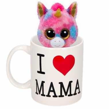 Baby moederdag i love mama mok knuffel eenhoorn