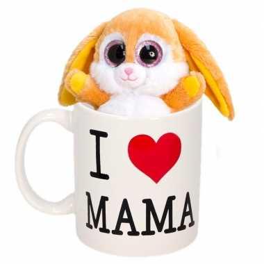 Baby moederdag i love mama mok knuffel konijn