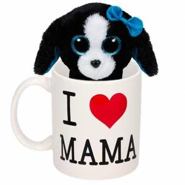 Baby moederdag i love mama mok knuffel puppy / hond
