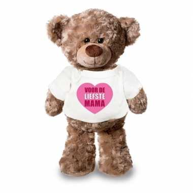Baby moederdagcadeau liefste mama hartje knuffel beer wit shirt