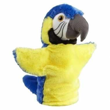Baby pluche blauw/gele ara papegaai knuffels